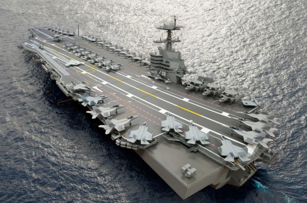 A composite photo illustration representing the Ford-class aircraft carrier, USS John F. Kennedy (CVN 79).  The carrier, underconstruction at Newport News Shipbuilding, is the second Ford-class nuclear-powered aircraft carrier and the second U.S. Navy carrier named for the 35th U. S. President.