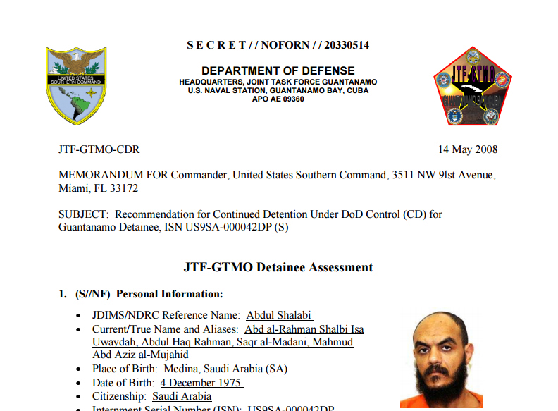 A screengrab from the 2008 Department of Defense assessment of Guantanamo Bay detainee Abdul Rahman Shalabi. (DoD via WikiLeaks)