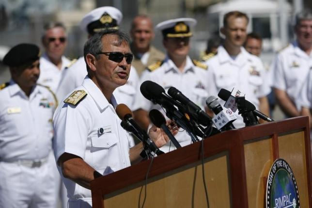 U.S. Navy Admiral Harry Harris Jr. addresses the media during a news conference kicking off the RIMPAC exercise at Joint Base Pearl Harbor Hickam in Honolulu, Hawaii June 30, 2014. REUTERS/Hugh Gentry