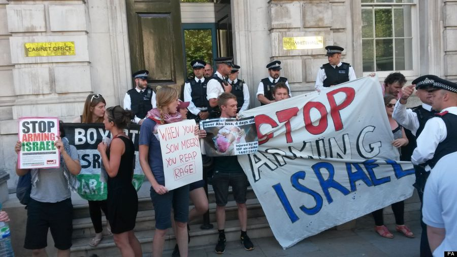 Protest outside Cabinet Office over Gaza bombing
