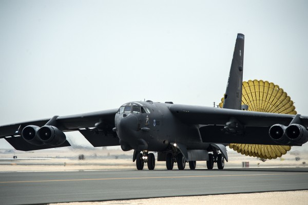 U.S. Air Force B-52 Stratofortress aircraft from Barksdale Air Force Base, Louisiana, arrives at Al Udeid Air Base, Qatar, April 9, 2016 in support of Operation Inherent Resolve, the operation to eliminate Da'esh and the threat they pose to Iraq, Syria and the wider international community, and as needed in the region. The B-52 offers diverse capabilities including the delivery of precision weapons. (U.S. Air Force photo by Tech. Sgt. Nathan Lipscomb/Released)