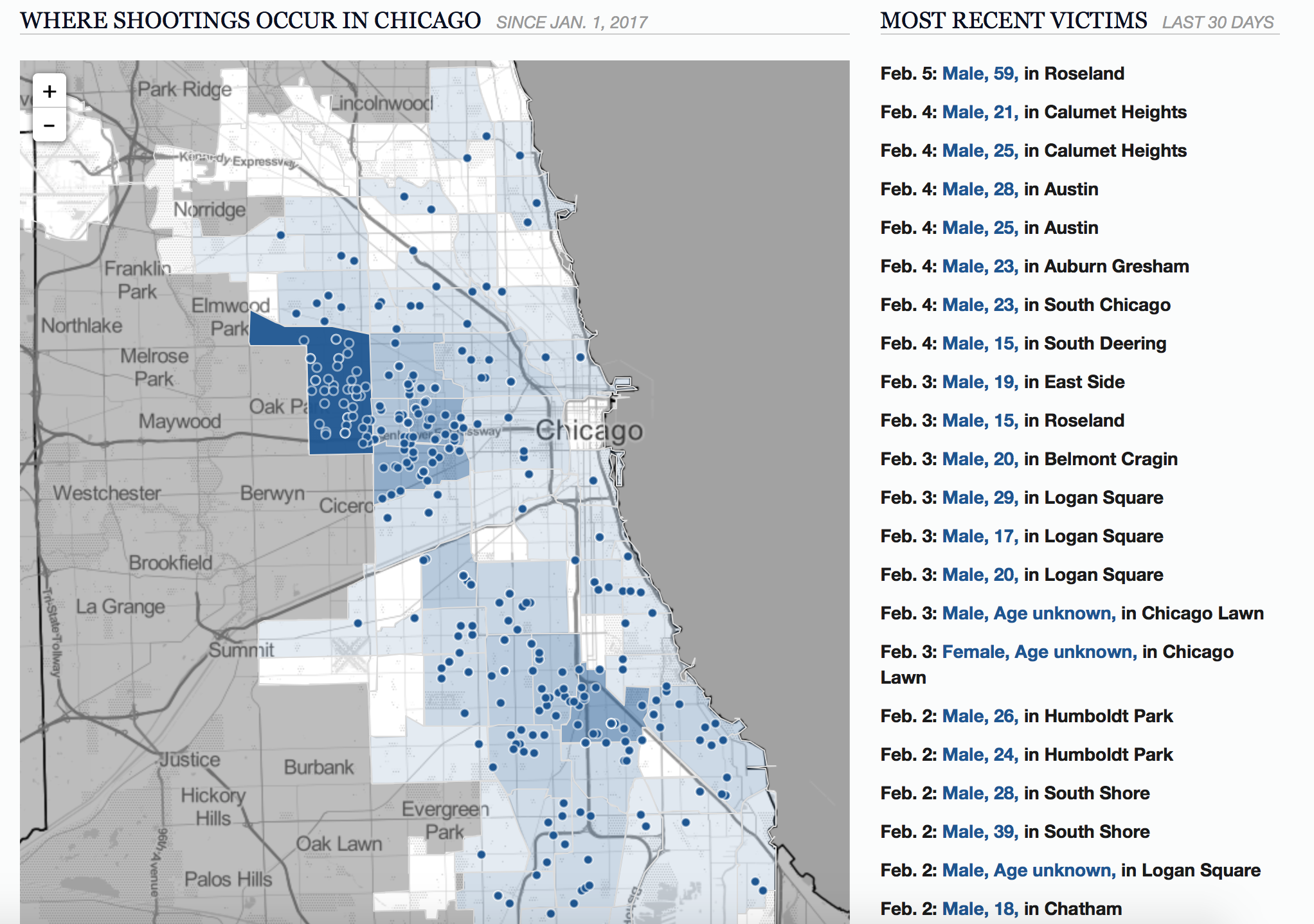 East Side Chicago Shooting Victims Update  February - Chicago map murders